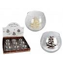 groothandel Kaarsen & standaards: Kaars in de hand  beschilderd glas met kerst decor,