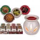 wholesale Fragrance Lamps: White ceramic aroma lamp with scented melts (Vanil