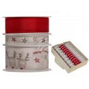 Rot & weißes Schleifenband mit Rentier & Sternen,