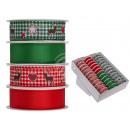 Rotes & grünes Schleifenband mit Rentier & Herz, c