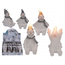 Candle, snowman, about 9.5 cm, 3 times assorted