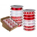 Rojo / blanco de la cinta, Navidad IIII, 15 mm