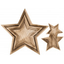Natural wood star plate, set of 2