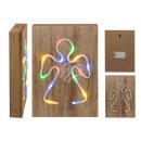 Lampe néon colorée dans une boîte en bois, ange