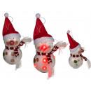 Kunststoff-Schneemann mit Mütze & 6 blinkenden LED