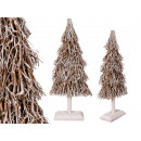 White Christmas tree made of wood branches, about