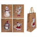 Kraft Gift Bag, 3 D Christmas Themes