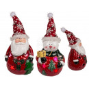 Ceramic figurine, Santa Claus & snowman