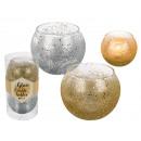 Glas-Teelichthalter mit Glitter, ca. 5 cm