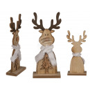 Wooden reindeer on wooden stand, approx. 30.5 x 13