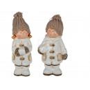White ceramic children with cream wool hat,