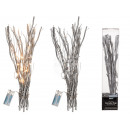wholesale Artificial Flowers: Silver-colored deco branches with 20 warm white LE
