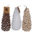 Candle, pine cones, with glitter, about 8 x 16 cm