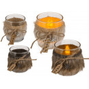 Glass tealight holder with fur, approx. 7 x 8 cm