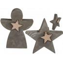 Cementowa gwiazda i anioł, z małą drewnianą gwiazd