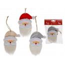 Wood Santa Claus head with fabric beard
