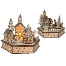 Natural wood winter town with music & LED