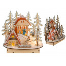 Wood winter village with warm white LED