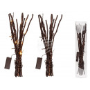 Brown deco branches with 20 warm white LED, approx