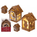 Natural wood house, Christmas, with star end
