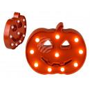 Großhandel Geschenkartikel & Papeterie: Kunststoff-Kürbis mit 10 LED, ca. 26 cm