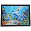3D Bild Delfine und Junges mit Fischen