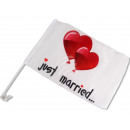 Auto vlaggen  Just Married  hart