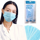 Mouth and nose mask 3-ply blue 5 pieces