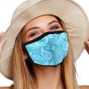 Mouthguard respirator mask with blue paisley motif