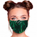 Adjustable motif mask black hemp floral