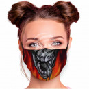 Adjustable motif mask black flame skull