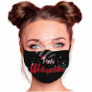 Adjustable black motif mask Merry Christmas