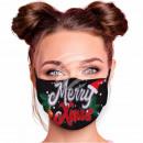Adjustable motif mask black Merry Xmas