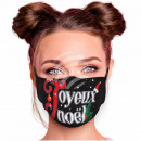Adjustable motif mask black Joyeux Noël