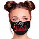 Adjustable motif mask black Buon Natale