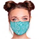 Adjustable motif mask turquoise mint paisley