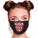 Adjustable motif mask black Never Give Up