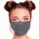 Adjustable motif mask black and white chess patter