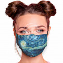 Adjustable motif mask blue painting abstract