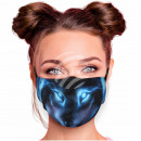 Adjustable motif mask black wolf abstract