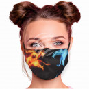 Adjustable motif mask black fire flames