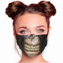 Adjustable motif mask black skeleton teeth