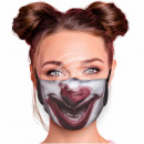 Adjustable motif mask multicolor clown smile