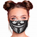 Adjustable motif mask black Guy Fawkes