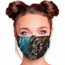 Adjustable motif mask multicolor woman horror