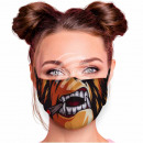 Adjustable motif mask multicolor cartoon monster