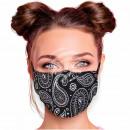 Adjustable motif mask black paisley