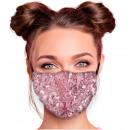 Adjustable motif masks pink sequins