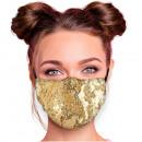 Adjustable motif masks gold sequins