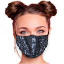 Adjustable motif masks black sequins